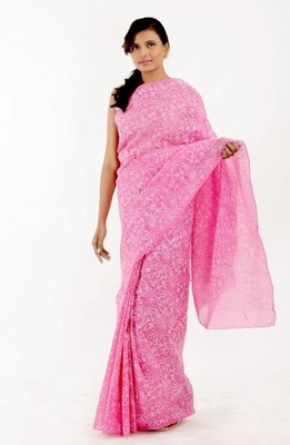 Lavangi Pink Hand Embroidered Lucknow Chikan Tepchi WorK Faux Georgette Saree with Blouse