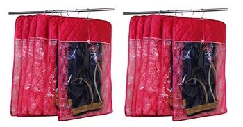 atorakushon® Satin Hanging Saree Cover Garments Wardrobe Organizer Pack of  12 (Maroon)