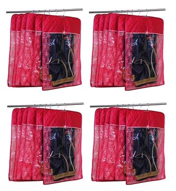 atorakushon® Satin Hanging Saree Cover Garments Wardrobe Organizer Pack of 24 (Maroon)