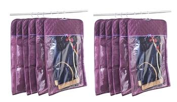 atorakushon® Satin Hanging Saree Cover Garments Wardrobe Organizer Pack of 12 (Purple)