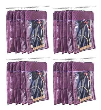 atorakushon® Satin Hanging Saree Cover Garments Wardrobe Organizer Pack of 24 (Purple)