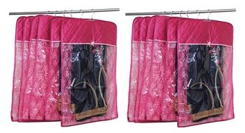 atorakushon® Satin Hanging Saree Cover Garments Wardrobe Organizer Pack of12(pink)
