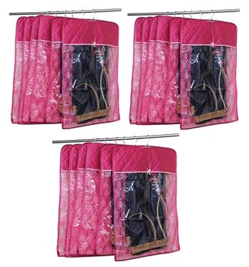 atorakushon® Satin Hanging Saree Cover Garments Wardrobe Organizer Pack of 18 (pink)