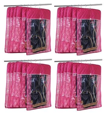 atorakushon® Satin Hanging Saree Cover Garments Wardrobe Organizer Pack of 24 (pink)