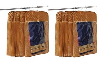 atorakushon® Satin Hanging Saree Cover Garments Wardrobe Organizer Pack of12(Golden)