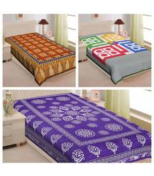 Textstylers pure cotton printed single bedsheet (Combo of 3)