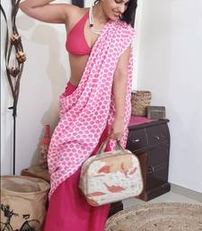 Pink Polka Cotton Hand Dyed Saree