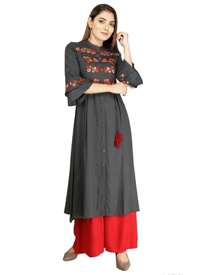 Dark-grey embroidered rayon long-kurtis