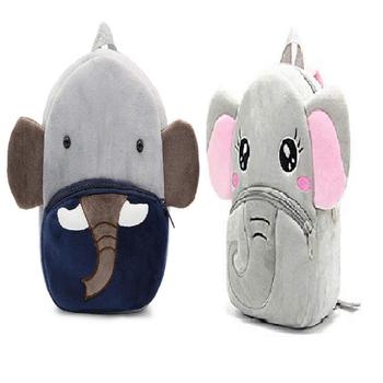 Lychee bags Velvet Kids School/Nursery/Picnic/Carry/Travelling Bag(Elephant)