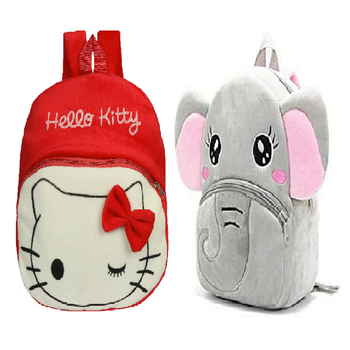 Lychee bags Velvet Kids School/Nursery/Picnic/Carry/Travelling Bag(hello kitty red And Elephant