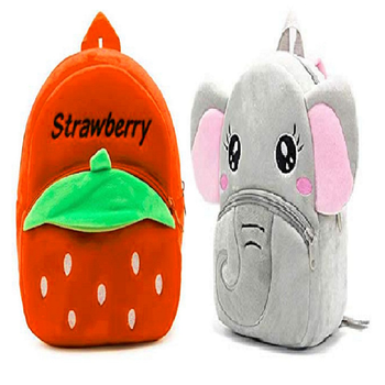 Lychee bags Velvet Kids School/Nursery/Picnic/Carry/Travelling Bag(Strawberry orange And Elephent)