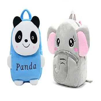 Lychee bags Velvet Kids School/Nursery/Picnic/Carry/Travelling Bag(Panda blue And Elephent)