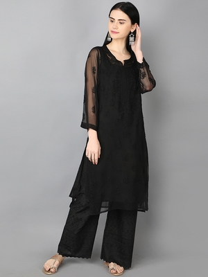 Ada Black Hand Embroidered Chikankari Georgette Kurti