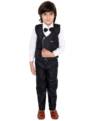 Black plain silk cotton boys-suit