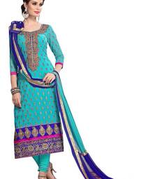 Buy Light Blue embroidered chanderi semi stitched salwar with dupatta cotton-salwar-kameez online