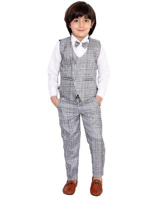 White plain silk cotton boys-suit