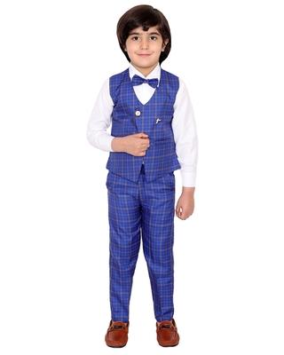 Blue plain silk cotton boys-suit