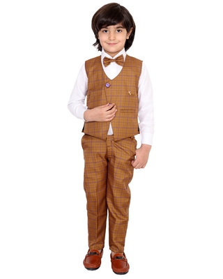 Yellow plain silk cotton boys-suit
