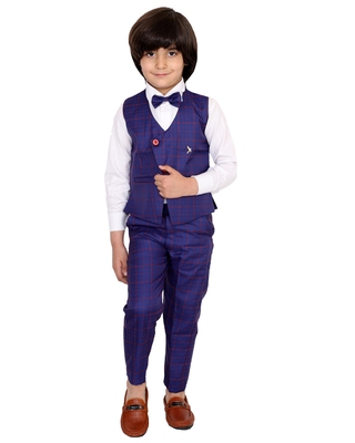 Blue plain silk cotton boys-suit