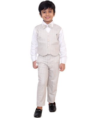 Beige plain silk cotton boys-suit