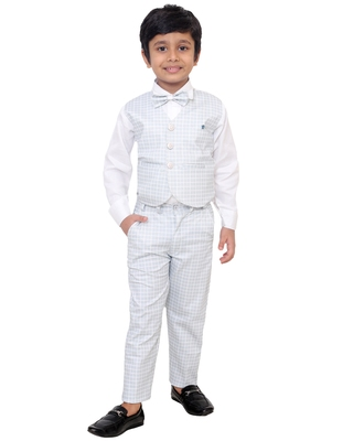 Grey plain silk cotton boys-suit