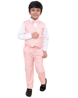 Pink plain silk cotton boys-suit