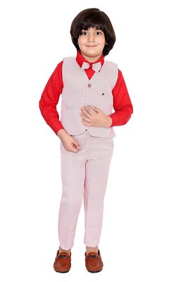 Red plain silk cotton boys-suit