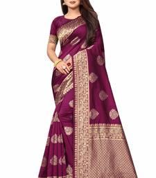 Wine hand woven banarasi silk saree with blouse