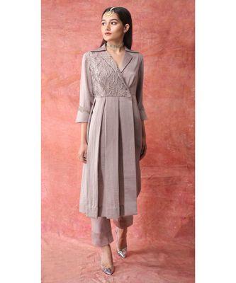 Show Shaa Brown Fabric manipulation Box pleate dress set