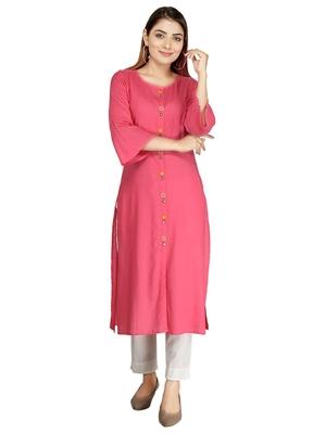 Baby-pink embroidered rayon long-kurtis