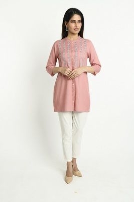 Pink embroidered rayon short-kurtis