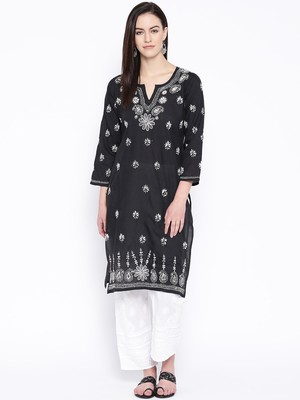 Black Embroidered Cotton Kurtas And Kurti