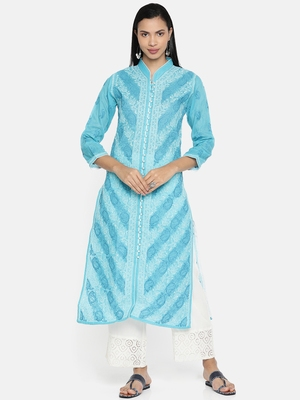 Ada Hand Embroidered Blue Cotton Lucknow Chikan Kurti