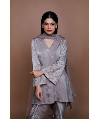 Show Shaa Grey Satin KIMONO High Low Embroided  ANARKALI with DHOTI PANTS