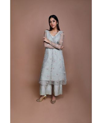 Show Shaa Sea green Chnaderi FLORAL SHEER OVERALL WITH GEOMETRICAL Stripe tunic and embroided pants.