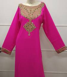 PINK ZARI WORK STONES & BEADS EMBELLISH GEORGETTE ISLAMIC STYLE ARABIC DRESS MAXI PARTYWEAR KAFTANS