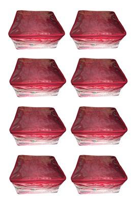 atorakushon® Net Transparent Saree Cover Garments Storage Bags Wardrobe Organizer Pack of 8 (Maroon)