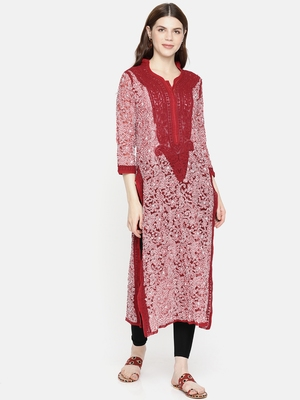 Red Embroidered Faux Georgette Chikankari Kurti