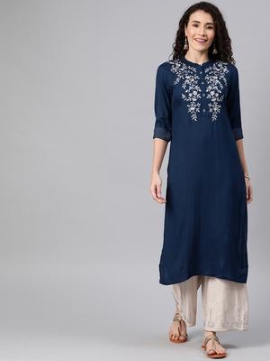 Navy-blue embroidered rayon ethnic-kurtis