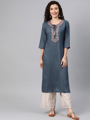 Light-blue embroidered rayon ethnic-kurtis