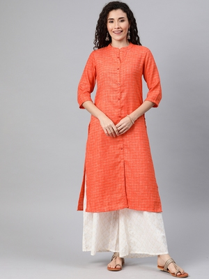 Orange woven cotton ethnic-kurtis