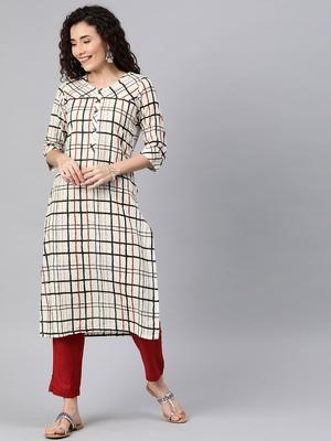Off-white woven cotton ethnic-kurtis