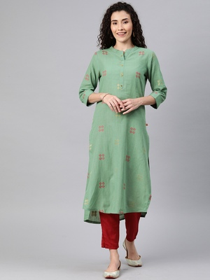 Emerald woven cotton ethnic-kurtis