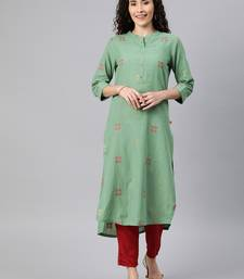 Emerald woven cotton ethnic-kurtis