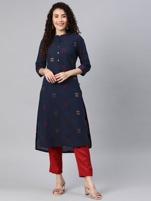 Navy-blue woven cotton ethnic-kurtis