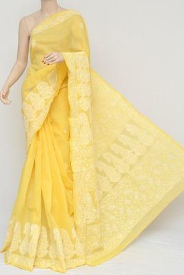 Yellow Color Hand Embroidered Designer Cotton Lucknowi Chikankari Saree