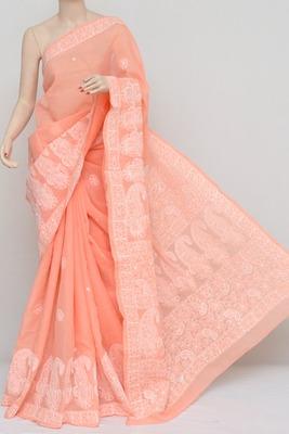 Peach Colour Hand Embroidered Designer Lucknowi Chikankari Saree