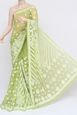 Green Color Fancy Skirt Hand Embroidered Lucknowi Chikankari Saree