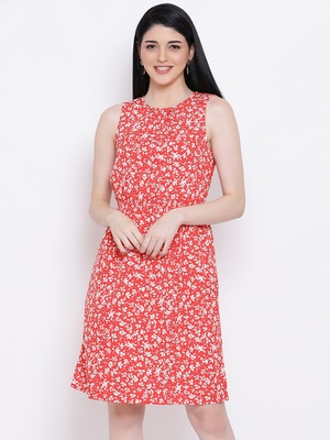 Flowery Memento Shirred Regular Dress