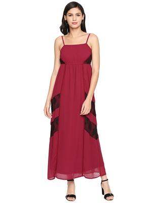 Fiery Maroon Strap Maxi Dress